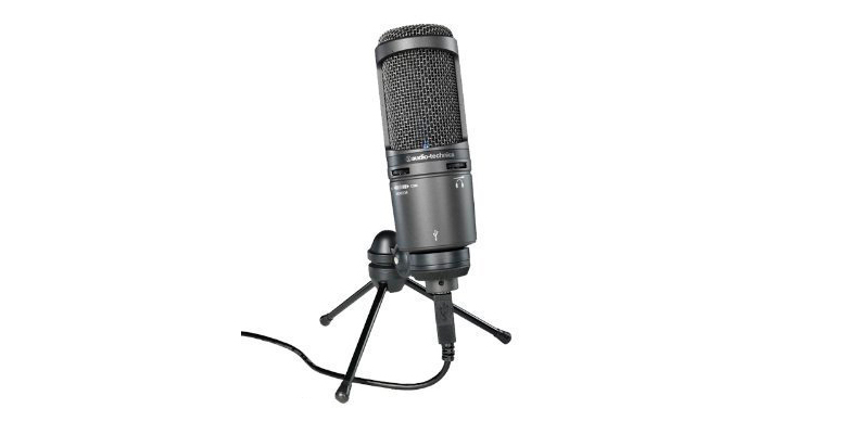 A product render of the Audio-Technica AT2020 microphone on a small stand in black.