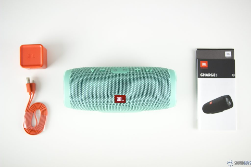 Pictures are the contents of the JBL Charge 3.