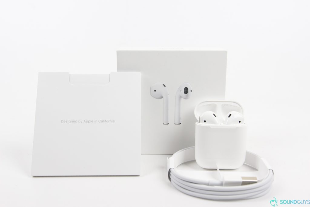 Apple AirPods: packaging on white background.