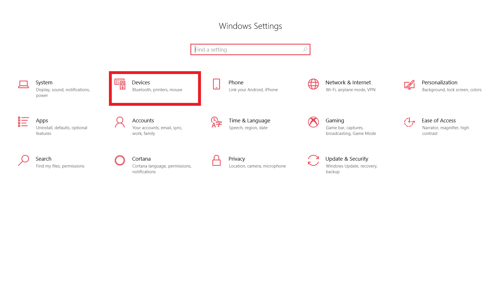 Windows 10の「設定」メニューを開き、「Bluetoothデバイス」オプションを強調表示した状態で、Bluetooth Windows 10の使用方法を表示したスクリーンショットです。