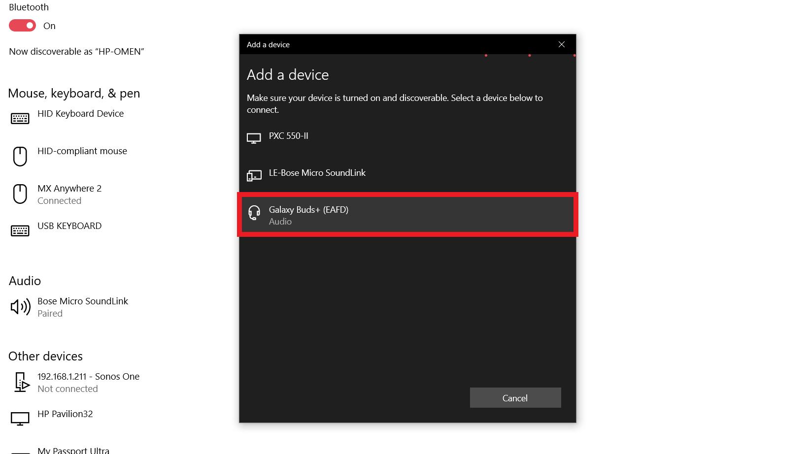 「新しいデバイスの追加」ウィンドウを開き、ペアリングしたいSamsung Galaxy Buds Plusを強調表示した状態で、Bluetooth Windows 10を使用する方法を表示したスクリーンショット