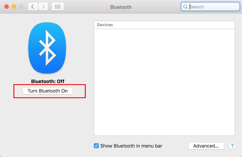 BluetoothメニューのBluetooth Onボタンを強調した、MacでのBluetoothの使い方のスクリーンショットです