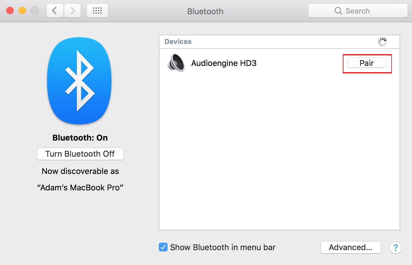 BluetoothメニューのMacでのBluetoothの使い方のスクリーンショットで、Bluetoothペアリングされたデバイスを強調表示しています。