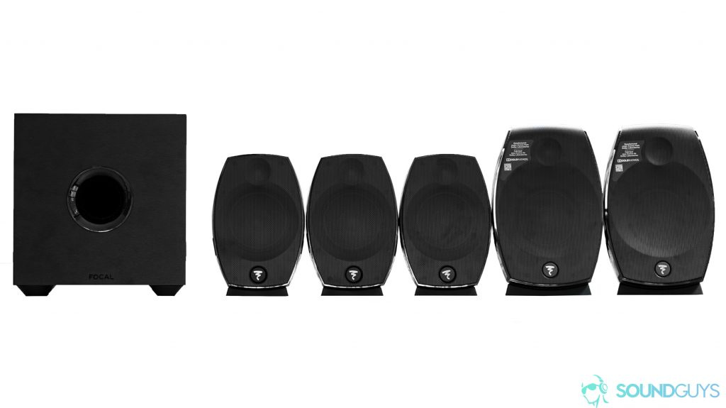 A photo of the Focal Sib Evo 5.1.2 speaker system.