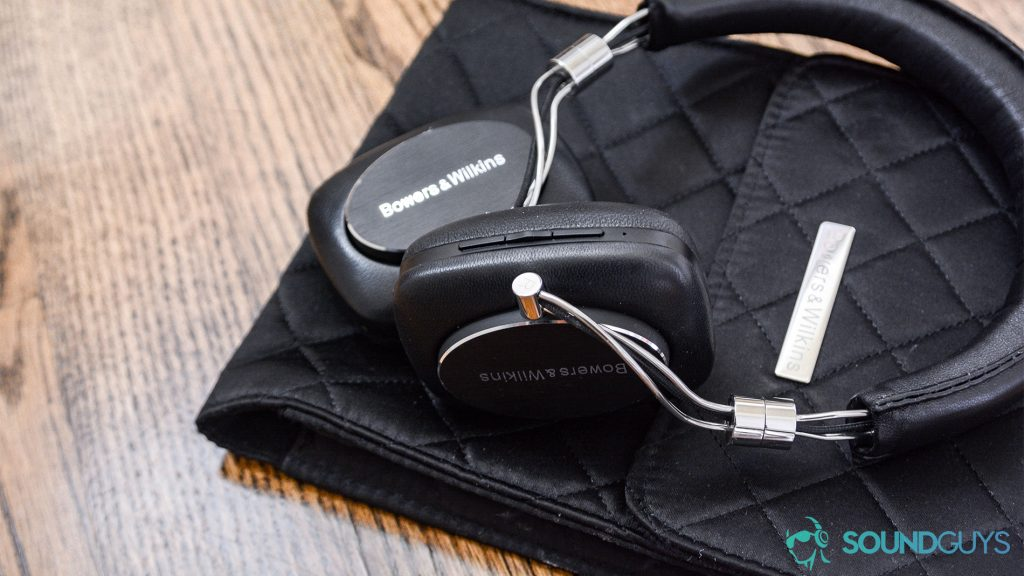 Best Buy headphones: Bowers & Wilkins P5 Wireless on the quilted carrying pouch.