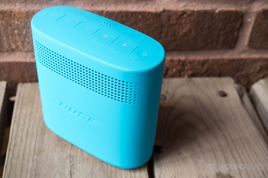 The Bose SoundLink Color II comes in four bold colors: teal, black, red, and white. Pictured: An angled, downward shot of the Bose SoundLink Color II, revealing the rear portion.