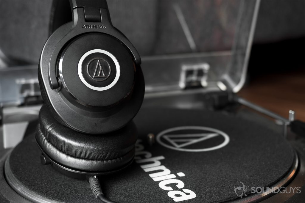 Best headphones under $100: Audio-Technica ATH-M40x on Audio-Technica record player