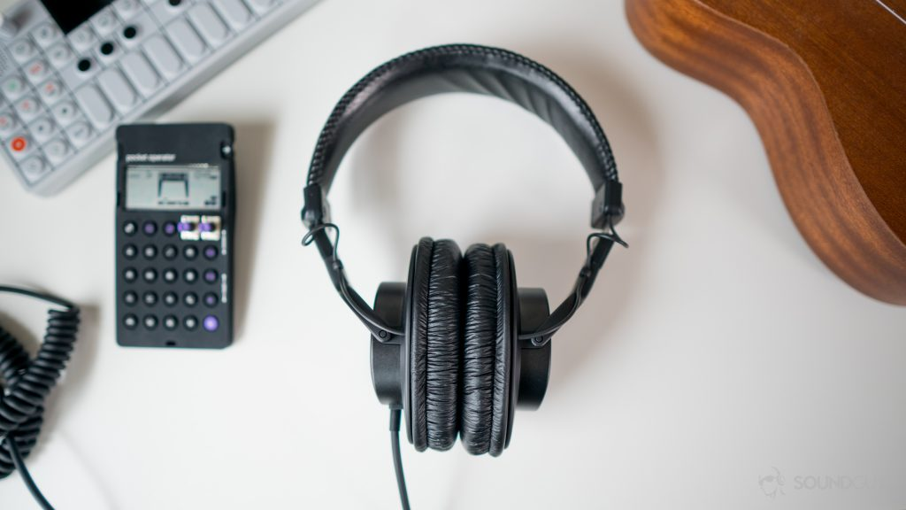 The Sony MDR-7506 headphones sitting next to some of my favorite instruments.
