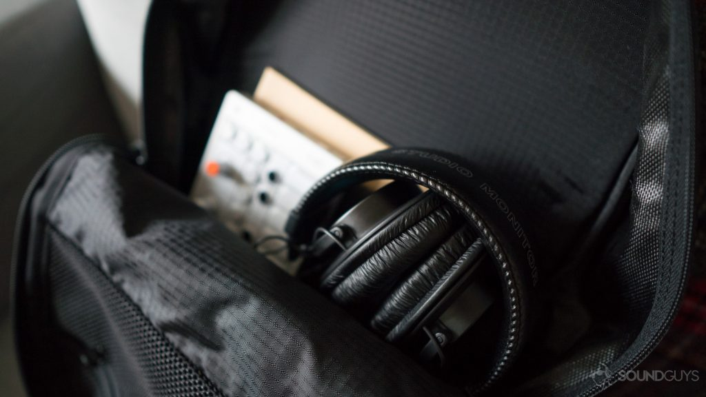 The Sony MDR 7506 headphones in a bag.