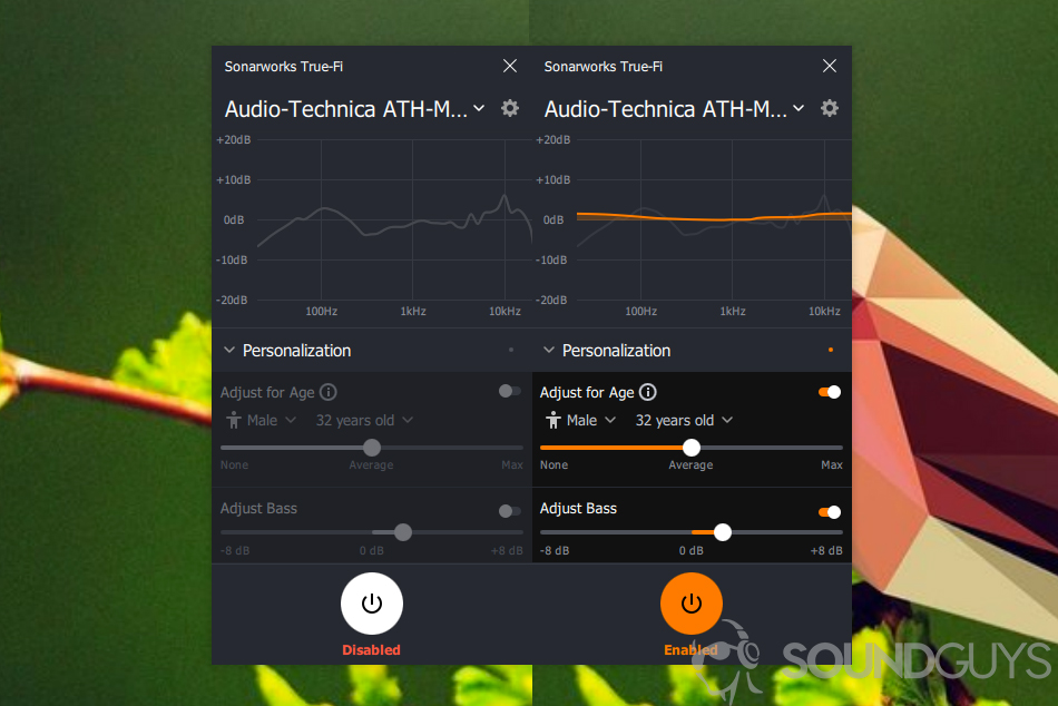 Screenshots of the True-Fi software.