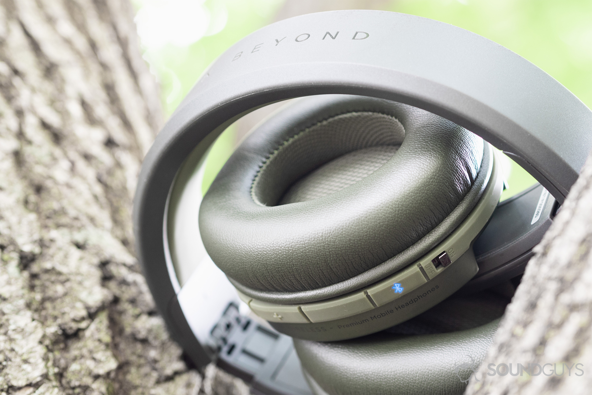 cb7a06d45b3 Focal Listen Wireless review: An underside view of the headphones (olive)  which are. Equipped with Bluetooth ...