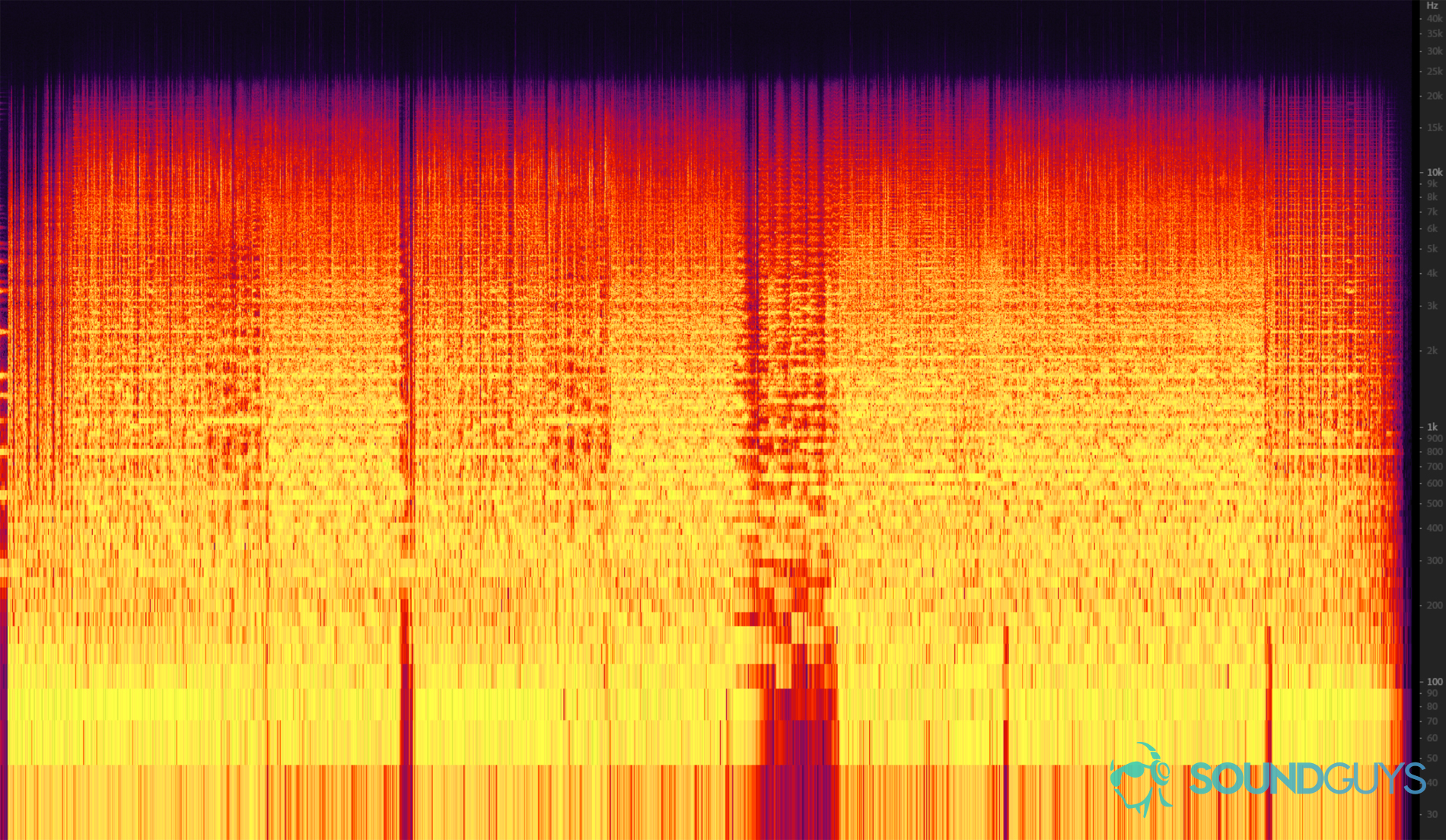 A spectrogram showing what a 24-bit music file looks like without any data deleted from it - how audio compression works