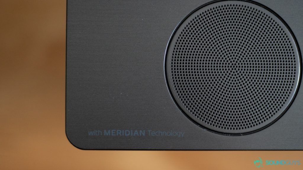 Best cheap soundbars: the Meridian Technology logo on the LG SK10Y