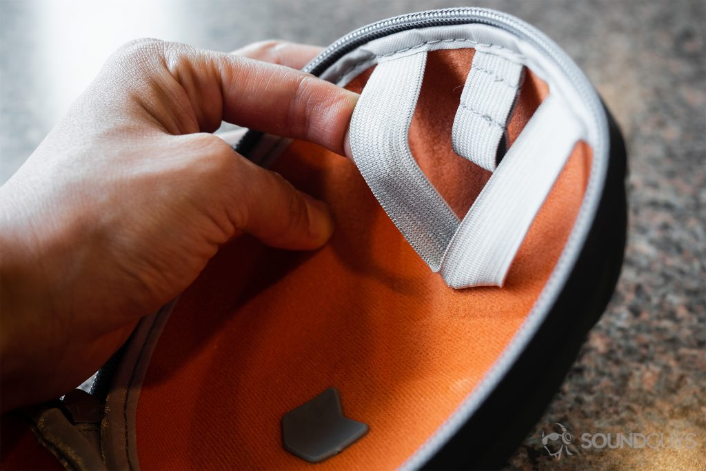 V-Moda headphone cases elastic interior for cable management.