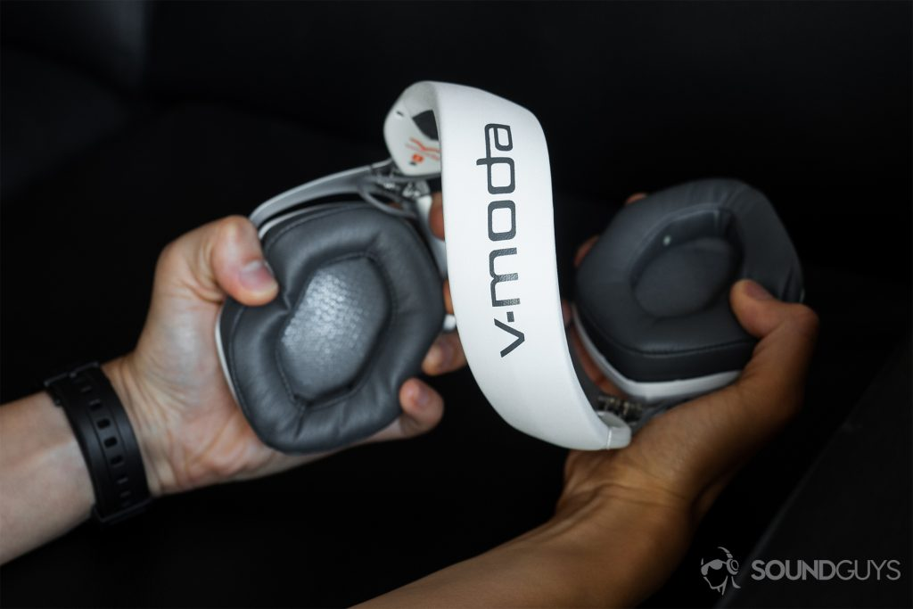 V-Moda Crossfade 2 Codex: The headphones being contorted in teh hands.
