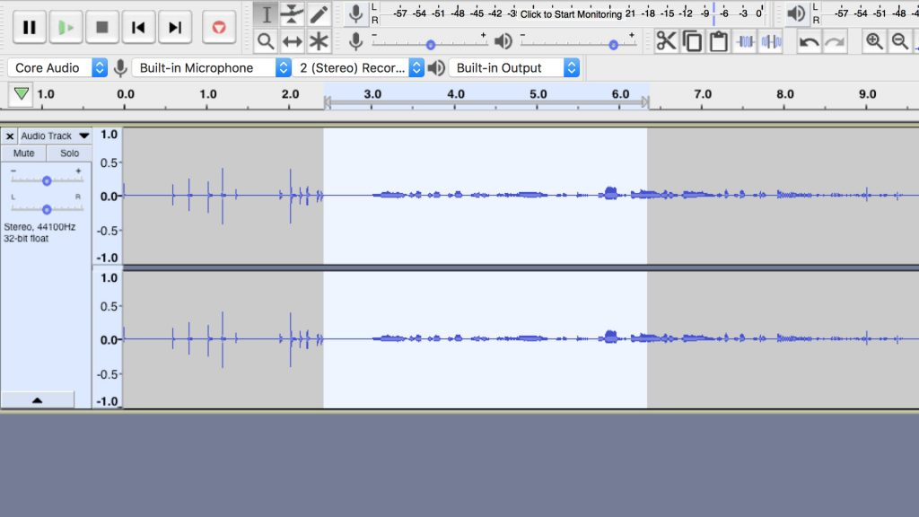 record people, screenshot of audacity on PC.