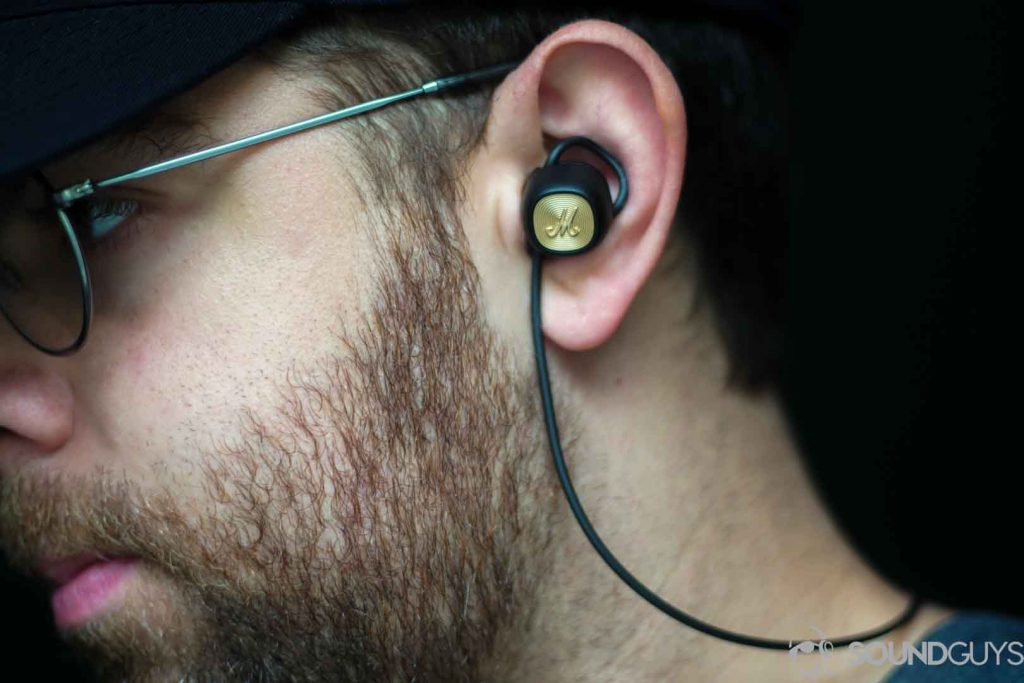 Picture of Adam wearing the Marshall Minor II earbuds.