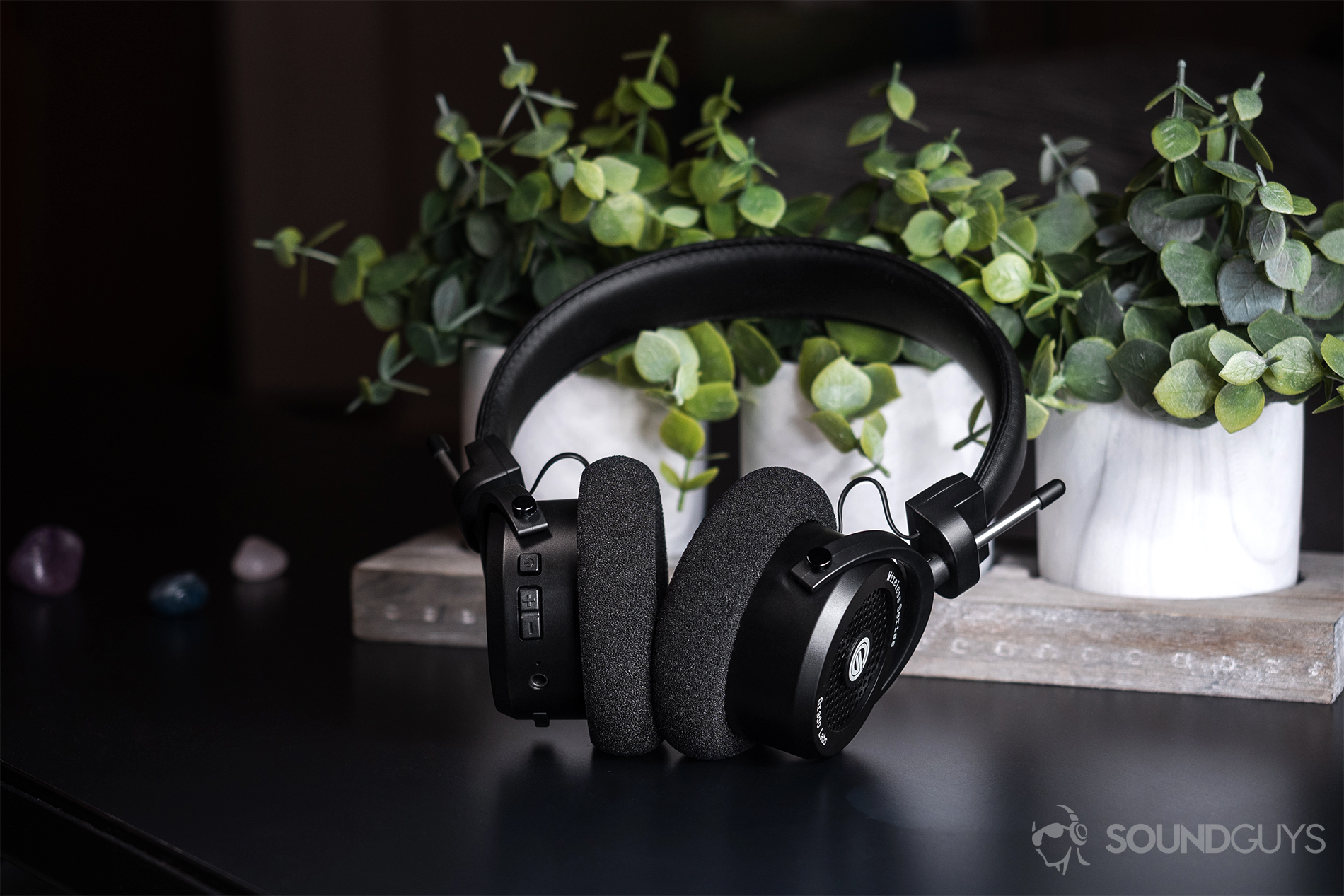 d4c4b85fd57 Grado GW100: The headphones leaning against a three-set of fake tabletop  plants (. Wireless functionality ...