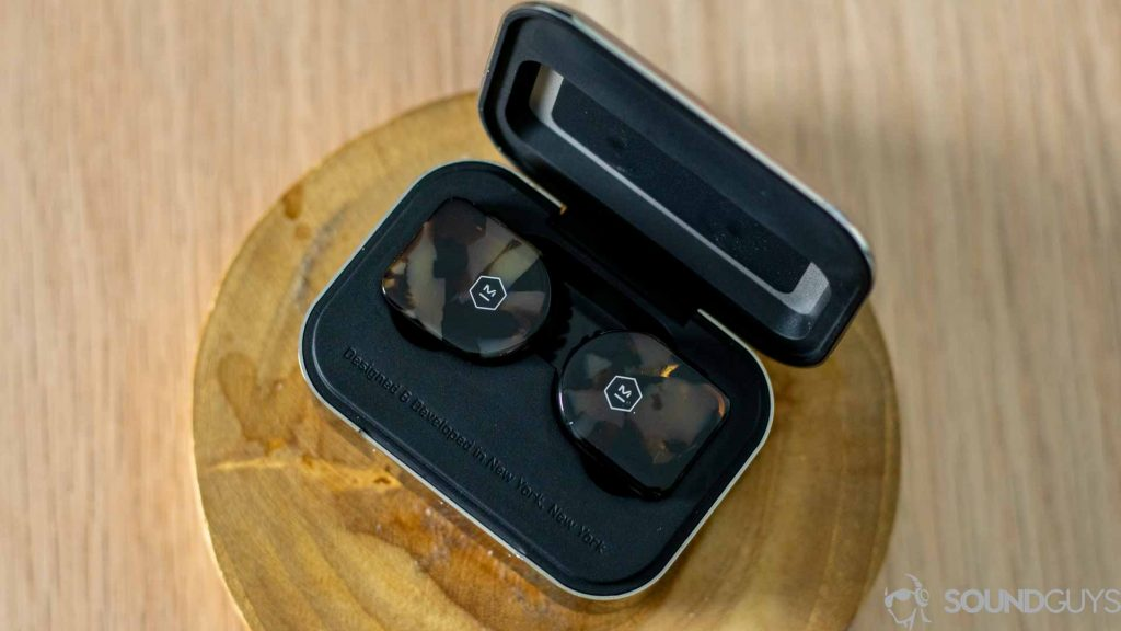 Close-up of the Master & Dynamic MW07 earbuds.