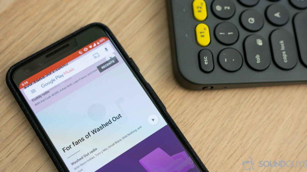 Google Play Music app open on a Pixel 3