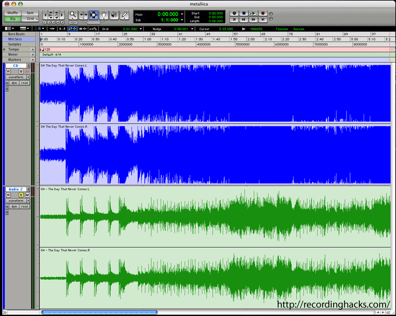 Vinyl: A comparison of waveforms for two versions of Metallica's Death Magnetic.