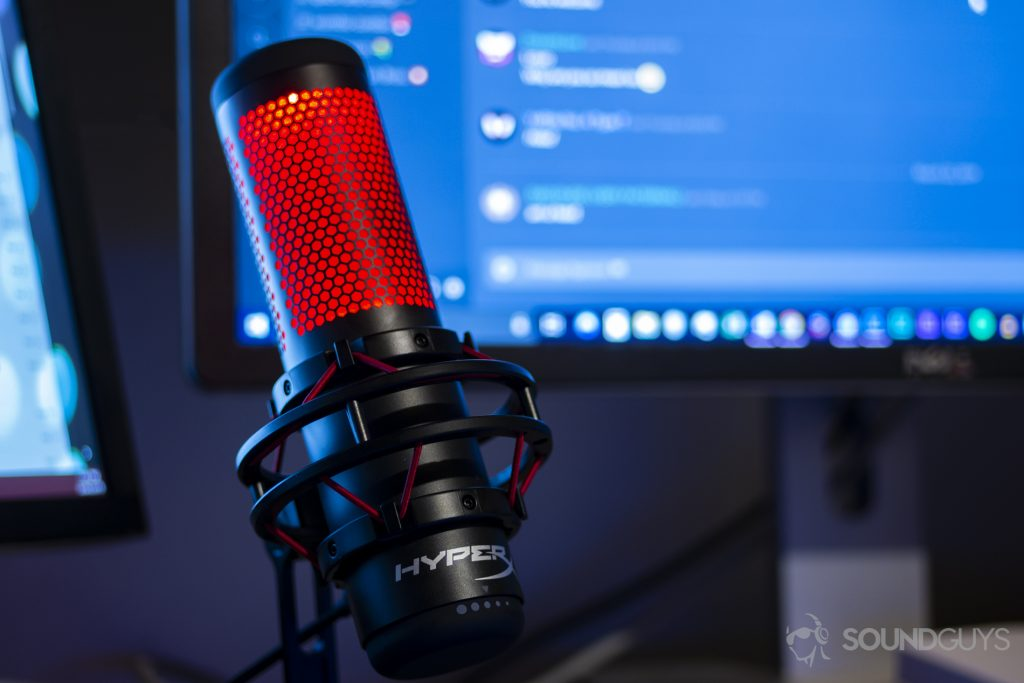 A photo of the HyperX Quadcast microphone.