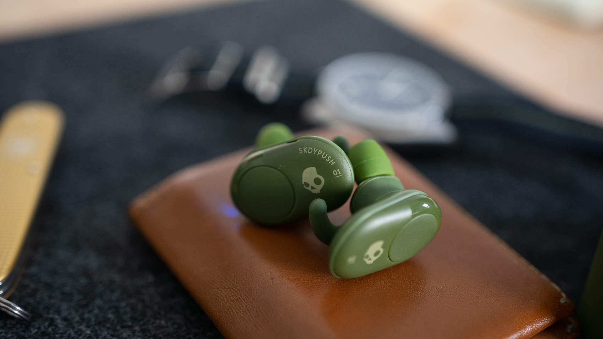 f403e30a67c Pictured are the Skullcandy Push true wireless earbuds next to each other,  with a close