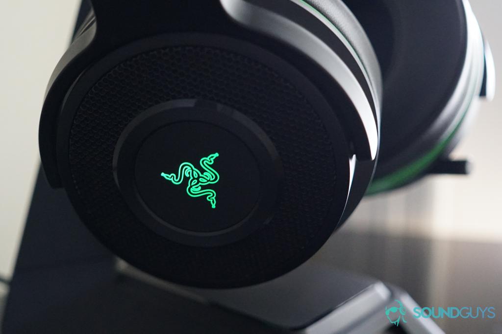 A photo of the Razer Thresher Ultimate's glowing Razer logo.