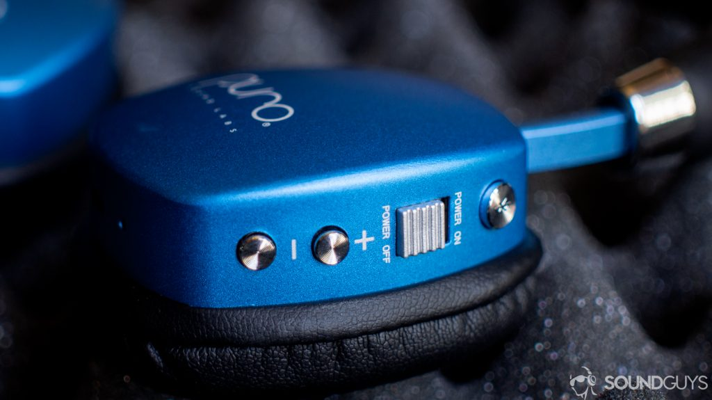A photo of the buttons on the Puro Sound Labs PuroQuiet.
