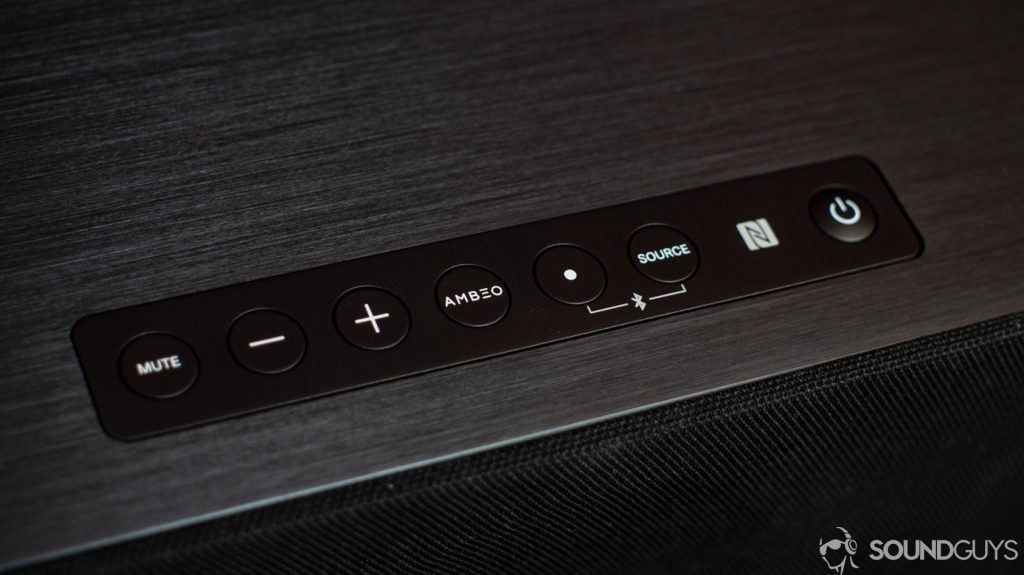 A photo of the top controls of the Sennheiser Ambeo Soundbar.
