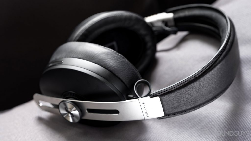 A picture of the Sennheiser Momentum Wireless 3 aptX Bluetooth headphones in black, focused on the headband stitching.