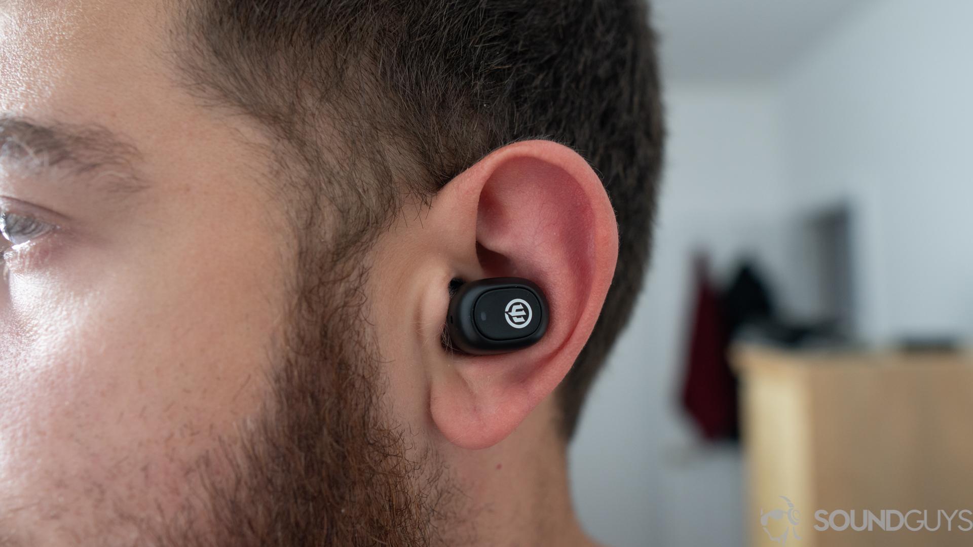 Adam wearing the Wicked Audio Gnar true wireless earbuds