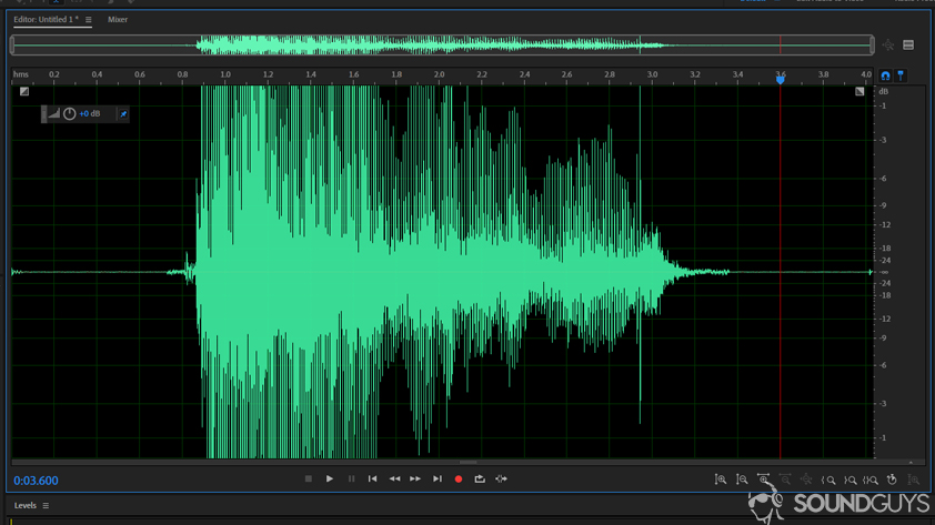 A screenshot of a clipped voice sample in Adobe's DAW: Audition.