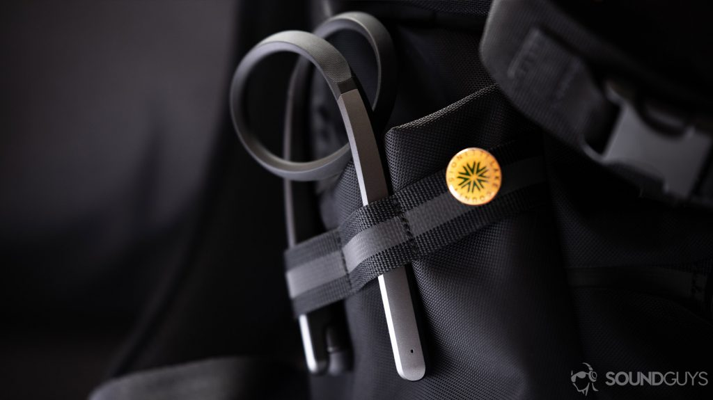 A photo of the LG Tone Flex XL7 wireless neckband rolled up in a backpack pocket.