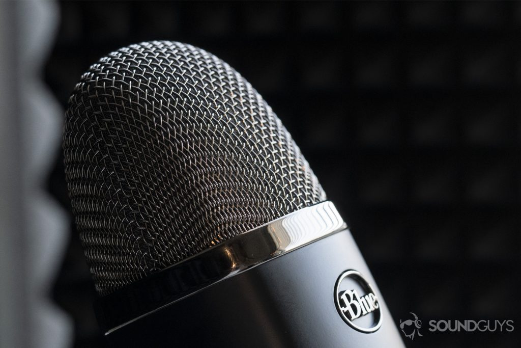 A photo of the Blue Microphones Yeti X with a focus on the grille.