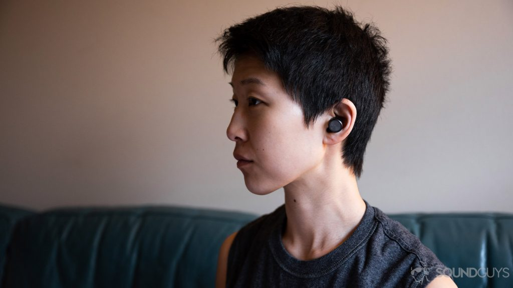 A picture of the Plantronics BackBeat Pro 5100 worn by a woman in profile.