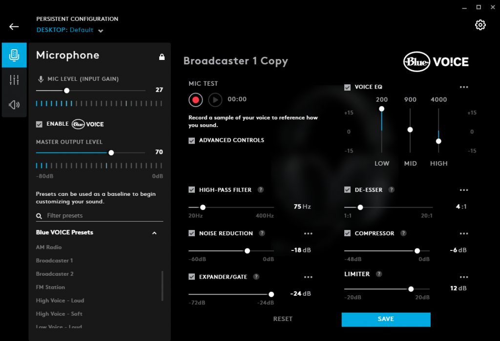 A screenshot of the Blue Vo!ce microphone settings for the Logitech G pro X in the Logitech G Hub app.