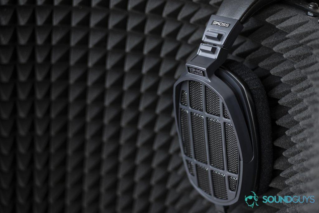 A photo of the Massdrop x Koss ESP/95X electrostatic headphones, resting on a microphone shield.