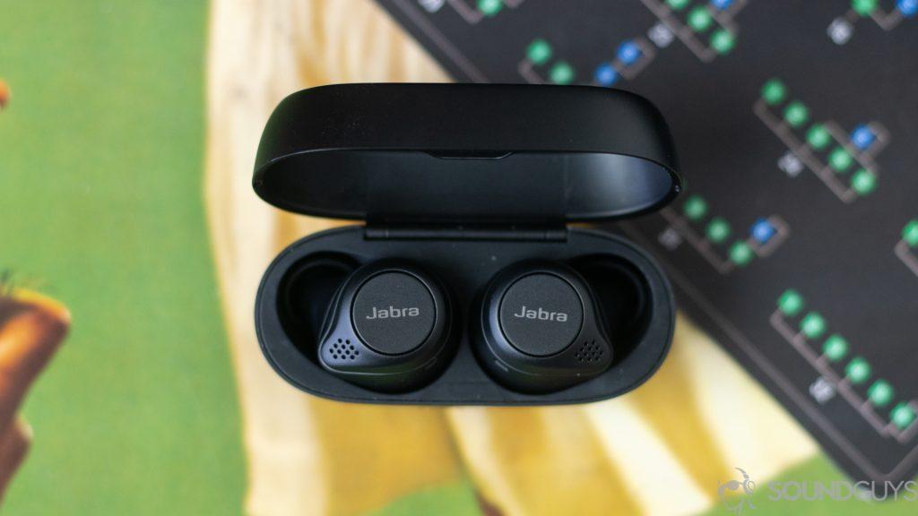 Top-down shot of the Jabra Elite 75t open charging case