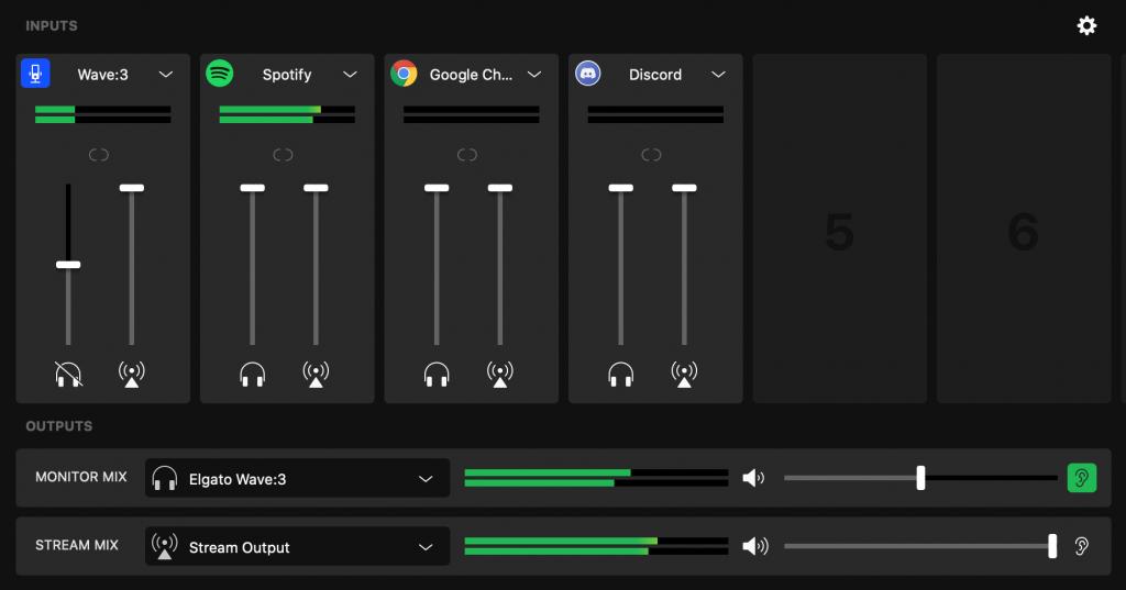 A screenshot of the Elgato WaveLink virtual audio mixer app.