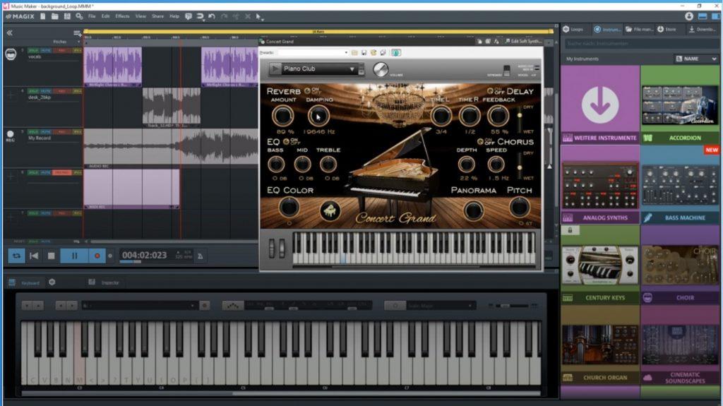 This is a screenshot of Magix Music Maker running on Windows.