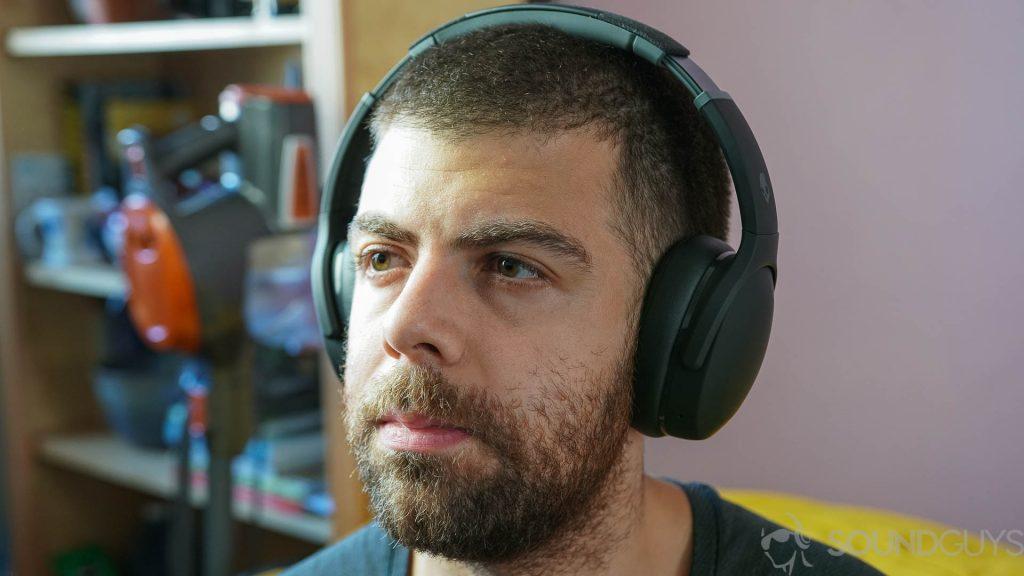 Man wearing the Skullcandy Crusher Evo headphones
