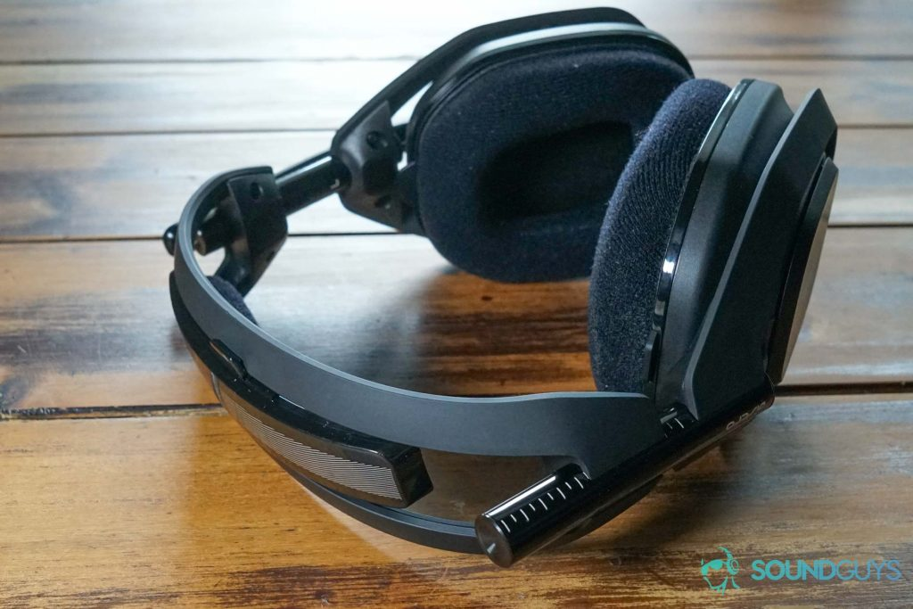 The Astro Gaming A50 Wireless laying on a wooden table.