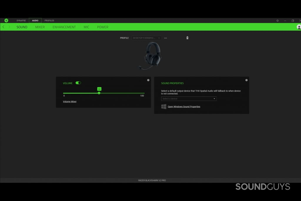 A screenshot from the Razer Synapse software connected to the Razer BlackShark V2 Pro