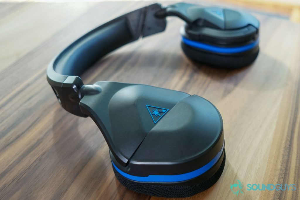 The Turtle Beach Stealth 600 Gen 2 gaming headset lies flat on a table.