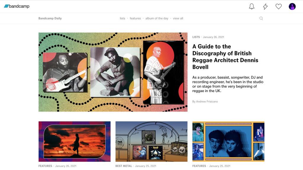 Screenshot of Bandcamp Daily blog.