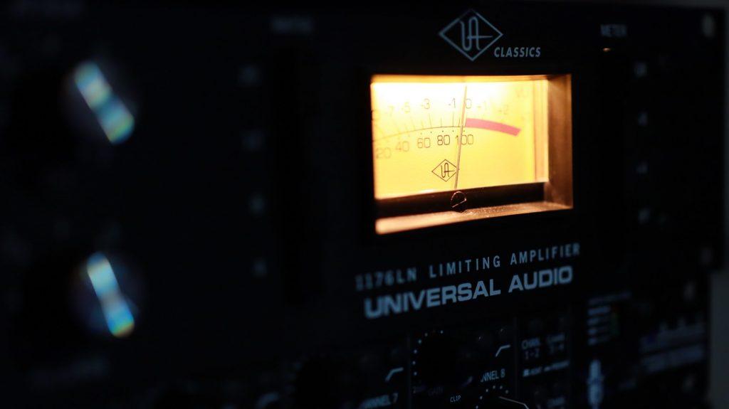 A studio limiter with VU meter illuminated