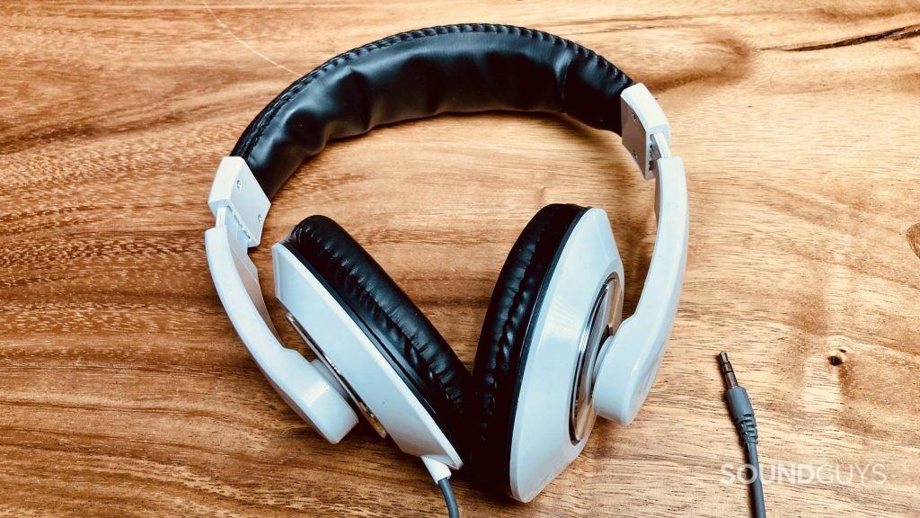 Electra Vortex headphones on a wooden desktop