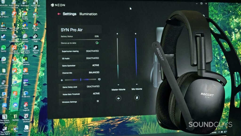 The Roccat Syn Pro Air gaming headset sits on a headphone stand in front of a computer monitor displaying the Roccat Neon app.