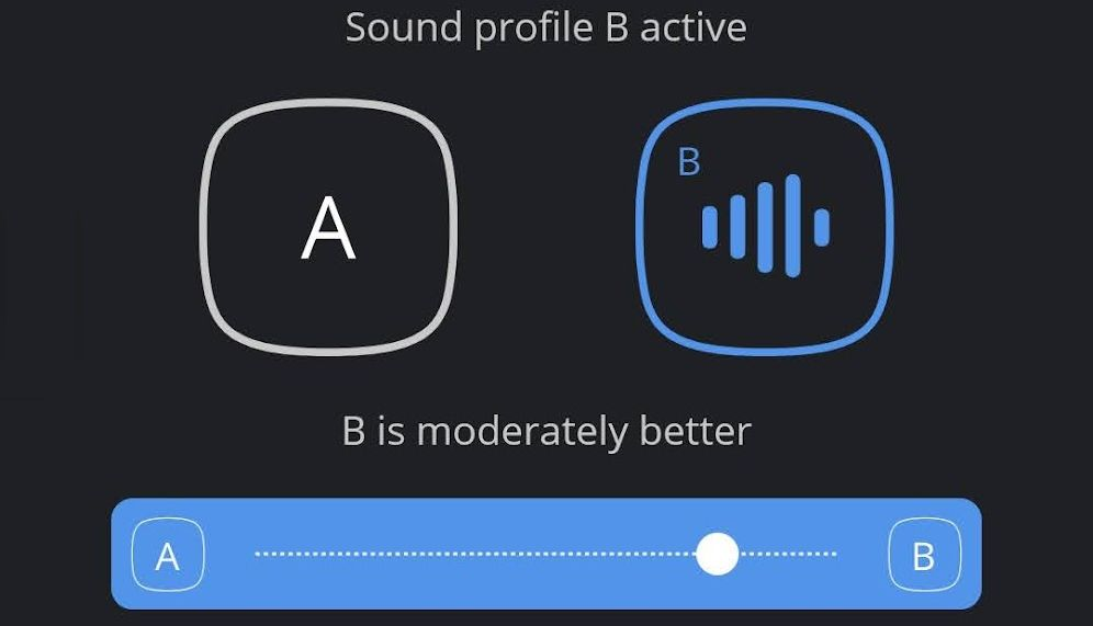 A screenshot of the Widex MOMENT app while using the My Sound feature.